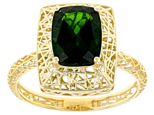 Photo of Pre-Owned 1.74ct rectangular cushion Russian chrome diopside solitaire 10K yellow gold filigree ring - Size 6