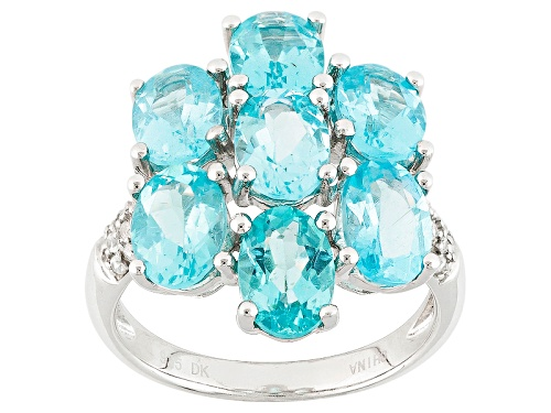Photo of Pre-Owned 4.76ctw Oval Paraiba Color Apatite With .18ctw Round White Zircon Sterling Silver Ring - Size 12