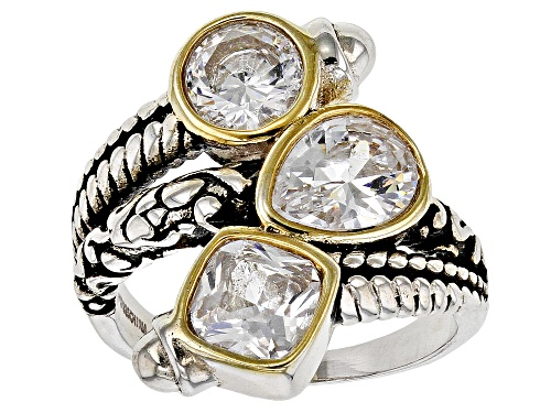Photo of Pre-Owned Bella Luce ® 5.37ctw White Diamond Simulant Rhodium Over Sterling Silver Ring (3.33ctw DEW - Size 7