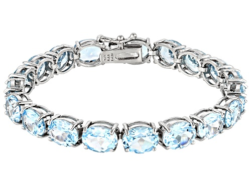 Photo of Pre-Owned Blue Topaz 44.00ctw Rhodium Over Sterling Silver Line Bracelet - Size 7.25