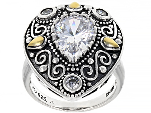 Photo of Pre-Owned Bella Luce ® 5.24ctw White Diamond Simulant Rhodium Over Sterling Silver Ring (3.24ctw DEW - Size 11