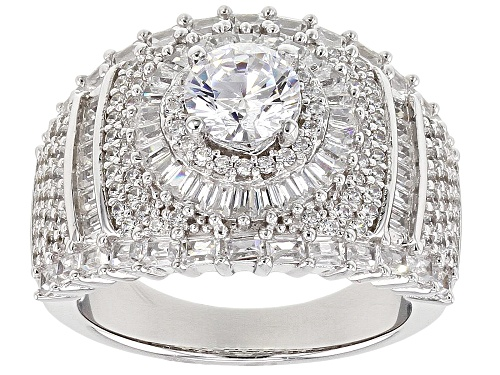 Photo of Pre-Owned Bella Luce ® 4.46CTW White Diamond Simulant Rhodium Over Sterling Silver Ring (3.62CTW DEW - Size 6