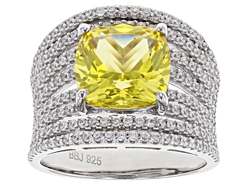 Photo of Pre-Owned Bella Luce ® 7.09ctw Lab Created Yellow Sapphire/White Diamond Simulants Rhodium Over Ster - Size 6