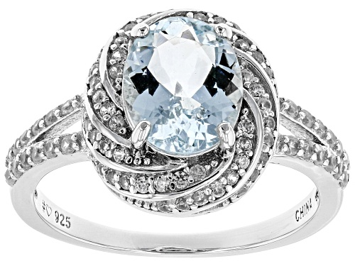 Photo of Pre-Owned 1.70ct Oval Aquamarine With .85ctw Round White Zircon Rhodium Over Sterling Silver Ring - Size 9