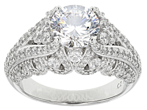 Photo of Pre-Owned Bella Luce® Dillenium Cut 5.52ctw Diamond Simulant Rhodium Over Sterling Silver Ring (3.42 - Size 7