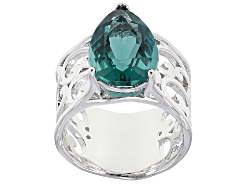 Photo of Pre-Owned 5.52CT PEAR SHAPE TEAL FLUORITE RHODIUM OVER STERLING SILVER SOLITAIRE RING - Size 9