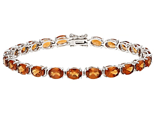 Photo of Pre-Owned 22.00ctw Oval Hessonite Garnet Sterling Silver Tennis Bracelet - Size 7.25