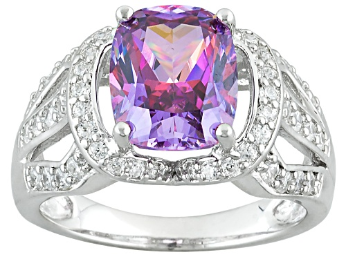 Photo of Pre-Owned Bella Luce Luxe ™ Featuring Fancy Purple Zirconia From Swarovski ® Rhodium Over Silver Rin - Size 5