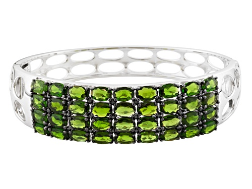 Photo of Pre-Owned 14.68ctw Oval Russian Chrome Diopside Sterling Silver Bracelet - Size 7