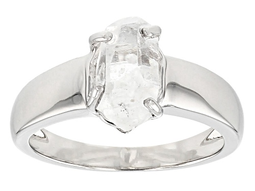 Photo of Pre-Owned Free-form Doubly Terminated Quartz Rhodium Over Sterling Silver Ring - Size 9