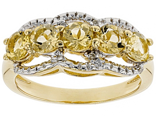 Photo of Pre-Owned .85ctw Yellow Beryl with .03ctw White Diamond Accents 18k Gold Over Silver 5-Stone Band Ri - Size 8