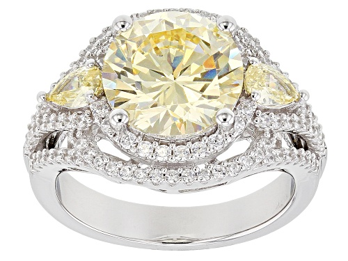 Photo of Pre-Owned Bella Luce ® 8.09CTW Canary And White Diamond Simulants Rhodium Over Silver Ring (4.93CTW - Size 5