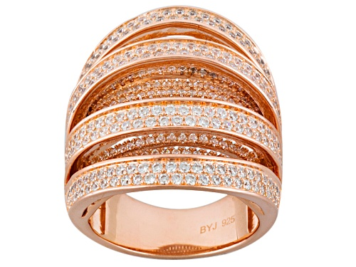 Photo of Pre-Owned Bella Luce ® 4.30ctw Round 18k Rose Gold Over Sterling Silver Ring - Size 5
