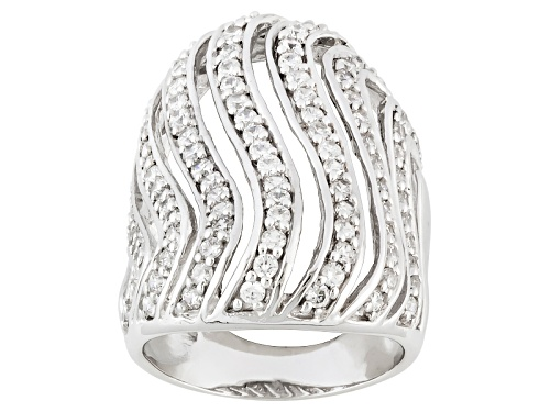 Photo of Pre-Owned Bella Luce ® 2.46ctw Round Rhodium Over Sterling Silver Ring (1.60ctw Dew) - Size 5