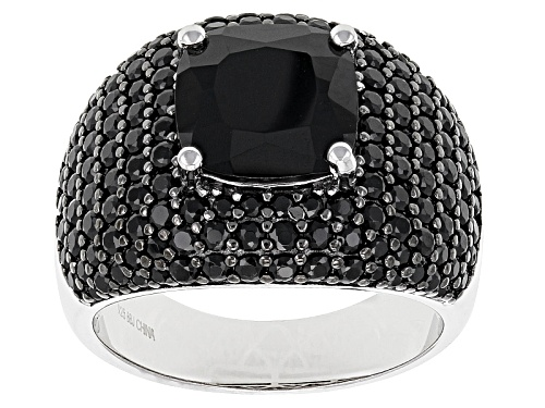 Photo of Pre-Owned 5.72ctw Square Cushion And Round Black Spinel Sterling Silver Ring - Size 5