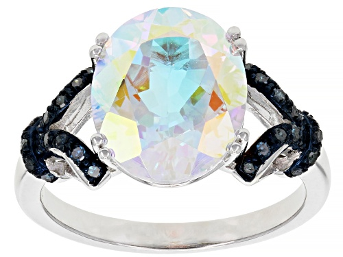 Photo of Pre-Owned 5.61ct Oval Mercury Mist(R) Topaz with .13ctw Blue Diamonds Rhodium Over Silver Ring - Size 9