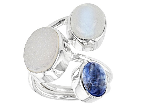 Photo of Pre-Owned Artisan Gem Collection Of India, Cabochon Moonstone, White Drusy And Kyanite Silver 3-Ston - Size 5