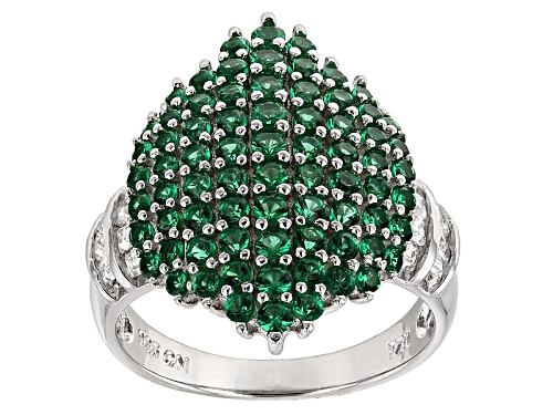 Photo of Pre-Owned Bella Luce ® 2.19ctw Emerald And White Diamond Simulants Rhodium Over Sterling Silver Ring - Size 5