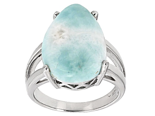Photo of Pre-Owned 18x13mm Pear Shape Cabochon Blue Larimar Sterling Silver Solitaire Ring - Size 5