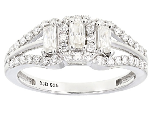 Photo of Pre-Owned MOISSANITE FIRE® .67CTW DEW ROUND AND BAGUETTE PLATINEVE® RING - Size 7
