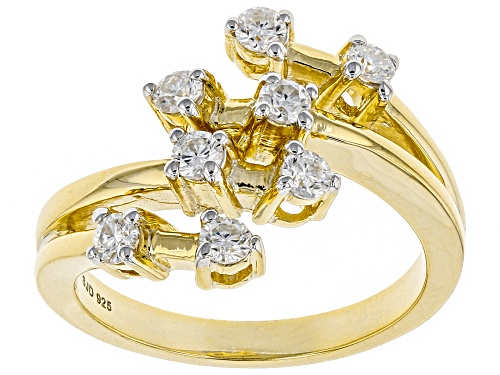 Photo of Pre-Owned MOISSANITE FIRE® .48CTW DEW ROUND 14K YELLOW GOLD OVER STERLING SILVER RING - Size 7