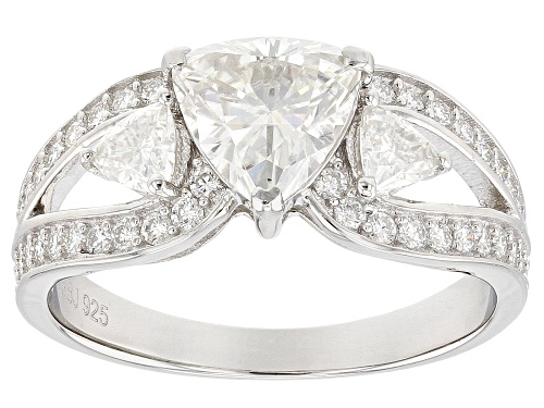 Photo of Pre-Owned MOISSANITE FIRE® 1.72CTW DEW TRILLION CUT AND ROUND PLATINEVE® RING - Size 7