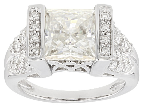 Photo of Pre-Owned Moissanite Fire® 4.86ctw Dew Square Brilliant And Round Platineve® Ring. - Size 7