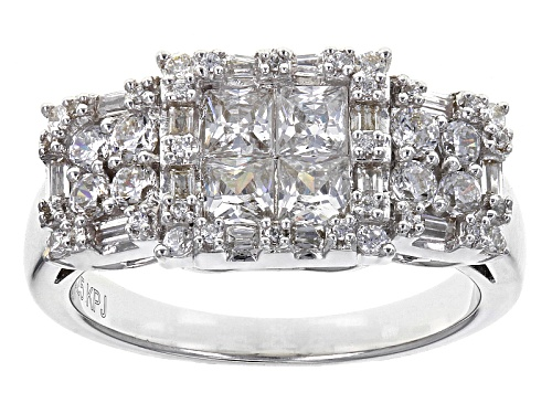 Photo of Pre-Owned Bella Luce ® 2.13ctw Diamond Simulant Rhodium Over Sterling Silver Ring (1.34ctw Dew) - Size 5