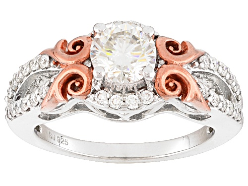 Photo of Pre-Owned Moissanite Fire® 1.12ctw Dew Platineve™ And 14k Rose Gold Over Silver  Ring - Size 7