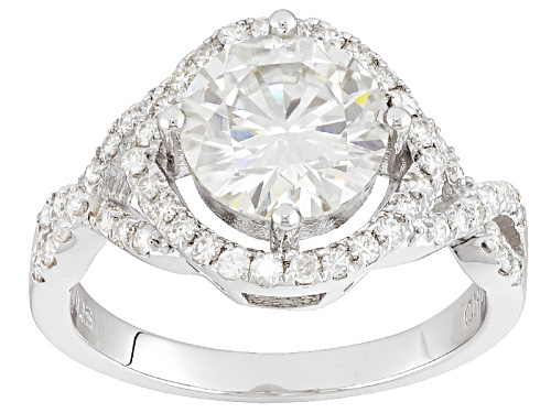 Photo of Pre-Owned Moissanite Fire® 3.20ct Diamond Equivalent Weight Round, Platineve™ Ring - Size 8