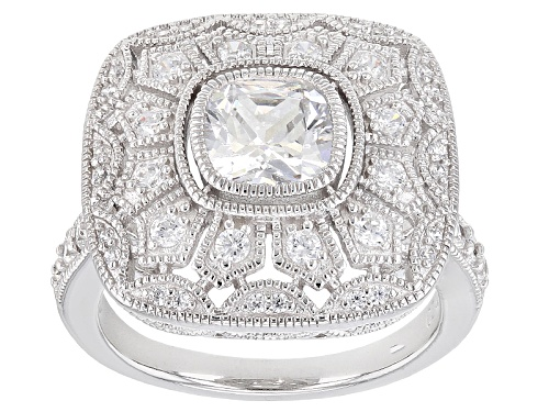 Photo of Pre-Owned Bella Luce ® 3.02ctw White Diamond Simulant Rhodium Over Sterling Silver Ring (1.55ctw Dew - Size 5