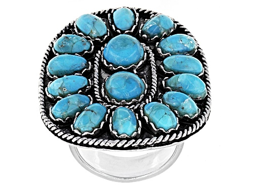 Photo of Pre-Owned Southwest Style By Jtv™ 7x4mm Oval And 6.5mm Round Turquoise Sterling Silver Ring - Size 5