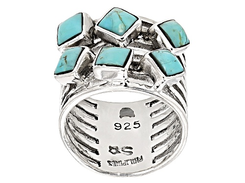 Photo of Pre-Owned Southwest Style By Jtv™ 5mm Square Cushion Kingman Turquoise Sterling Silver Ring - Size 5