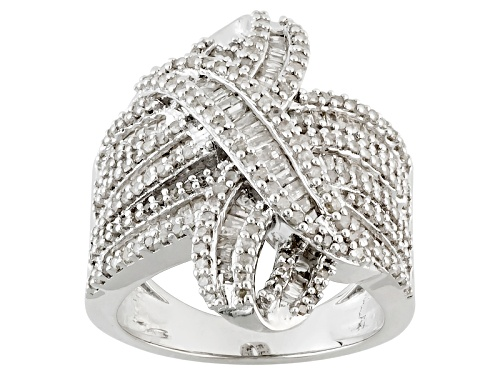 Photo of Pre-Owned 1.65ctw Baguette And Round White Diamond Rhodium Over Sterling Silver Crossover Ring - Size 5