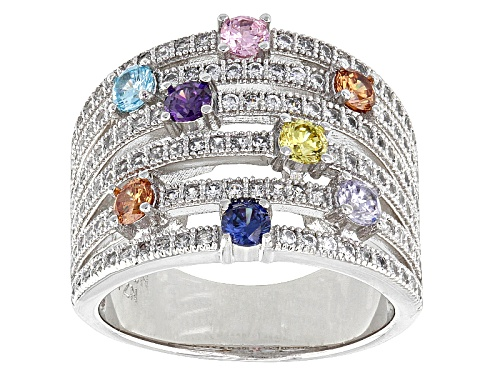 Photo of Pre-Owned Bella Luce ® 2.50ctw Multicolor Gemstone Simulants Rhodium Over Sterling Silver Ring - Size 5