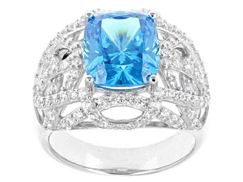 Photo of Pre-Owned Bella Luce ® Esotica™ 8.05ctw Neon Apatite Simulant & Diamond Simulant Rhodium Over Silver - Size 5