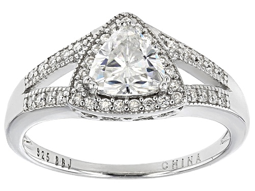Photo of Pre-Owned Moissanite Fire® 1.19ctw Diamond Equivalent Weight Trillion Cut And Round Platineve™ Ring - Size 10