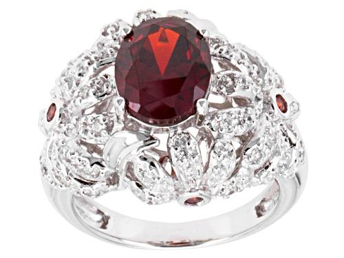 Photo of Pre-Owned Bella Luce ® Esotica ™ 4.92ctw Spessartite & White Diamond Simulants Rhodium Over Silver R - Size 5