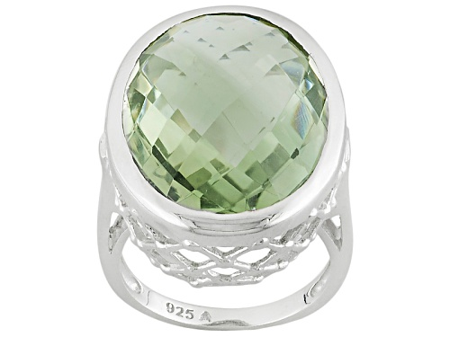 Photo of Pre-Owned 14.00ctw Oval Green Prasiolite Sterling Silver Solitaire Ring - Size 5