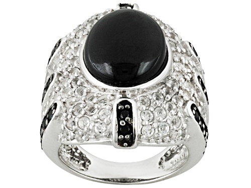 Photo of Pre-Owned 4.92ctw Oval And Round Black Spinel With 1.11ctw Round White Topaz Sterling Silver Ring - Size 5