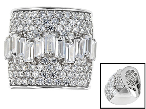 Photo of Pre-Owned Bella Luce ® 8.09ctw Diamond Simulant Rhodium Over Sterling Silver Ring (4.92ctw Dew) - Size 5