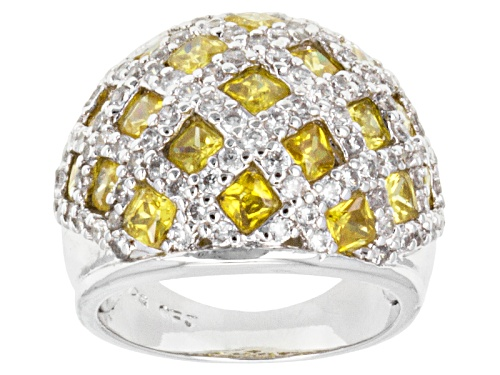 Photo of Pre-Owned Bella Luce ® 7.60ctw Yellow & White Diamond Simulant Rhodium Over Sterling Silver Ring - Size 5