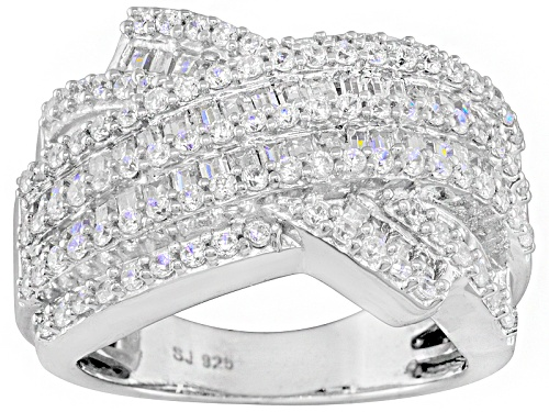 Photo of Pre-Owned Bella Luce ® 2.05ctw Round And Baguette Rhodium Over Sterling Silver Ring - Size 5