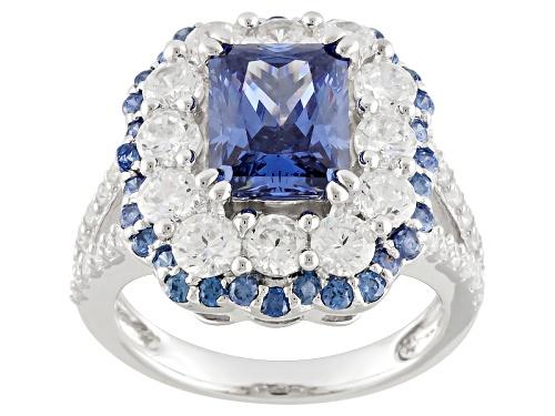 Photo of Pre-Owned Bella Luce ® Esotica ™ Tanzanite Simulant & White Simulant 8.62ctw Rhodium Silver Ring - Size 5