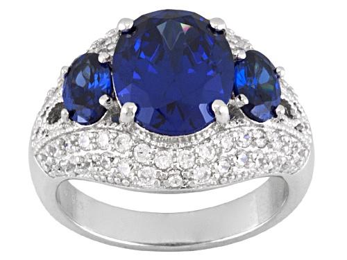 Photo of Pre-Owned Charles Winston For Bella Luce ® Tanzanite Simulant & Diamond Simulant Rhodium Over Silver - Size 5