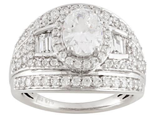 Photo of Pre-Owned Bella Luce ® 4.15ctw Oval, Baguette And Round Rhodium Over Sterling Silver Ring - Size 6