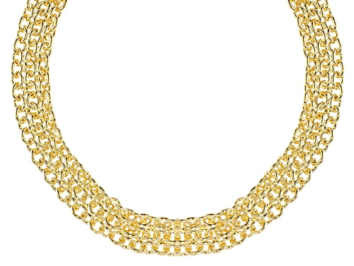 Photo of Pre-Owned Moda Al Massimo® 18k Yellow Gold Over Bronze 3 Row Cable Link 18 Inch Necklace - Size 18