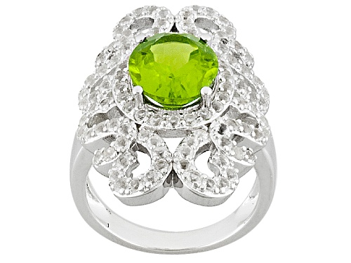 Photo of Pre-Owned 3.23ct Oval Manchurian Peridot™ With 1.64ctw Round White Topaz Sterling Silver Ring - Size 6