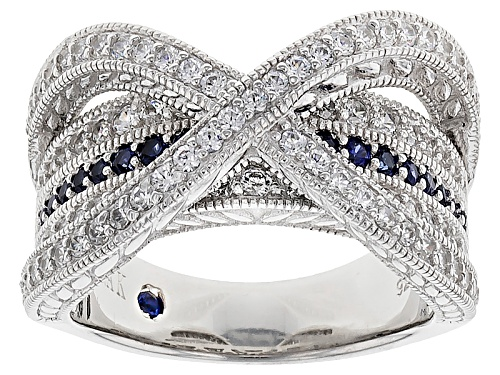 Photo of Pre-Owned Vanna K ™ For Bella Luce ® 1.58ctw Lab Created Sapphire & Diamond Simulant Platineve ™ Rin - Size 5