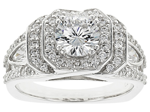 Photo of Pre-Owned Bella Luce ® Dillenium 3.20ctw Rhodium Over Sterling Silver Ring (2.13ctw Dew) - Size 6